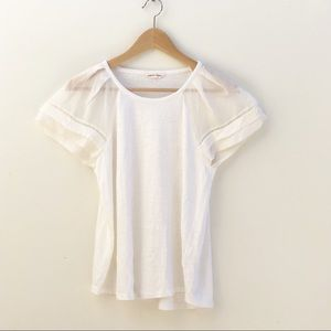 Rebecca Taylor Off White Silky Short Sleeve Blouse